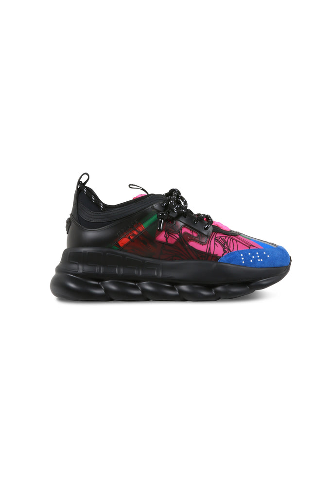 VERSACE: Chain Reaction Sneakers - Black/Multicolor | LESSONS