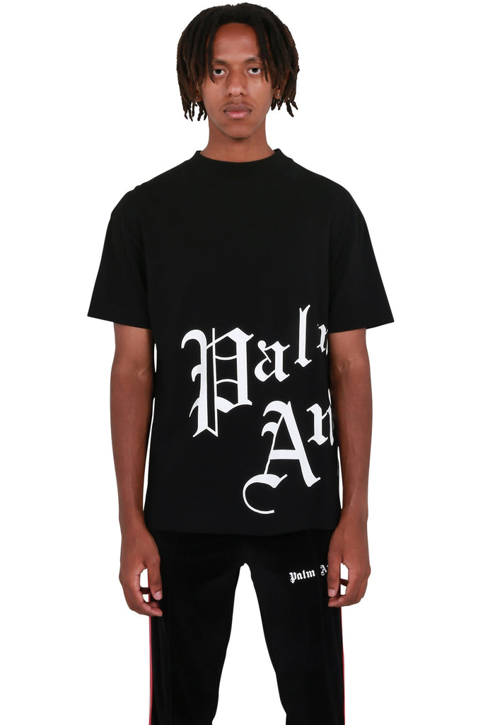 PALM ANGELS: Side New Gothic Tee - Black/White | LESSONS