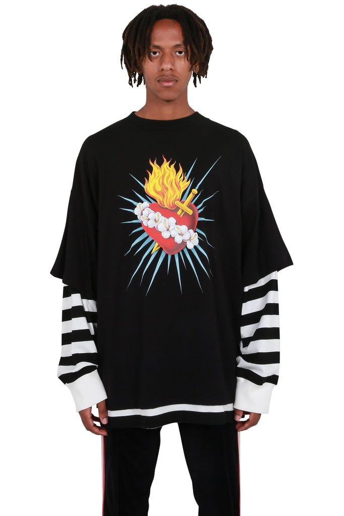 PALM ANGELS: Sacred Heart Layered Long Sleeve Tee - Black | LESSONS