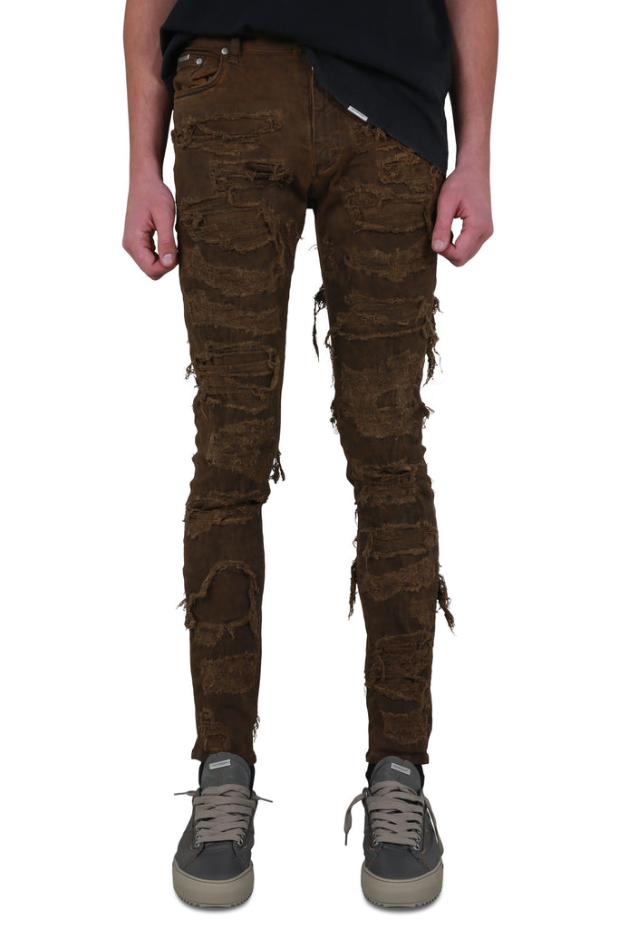 Shredded Denim - Brown