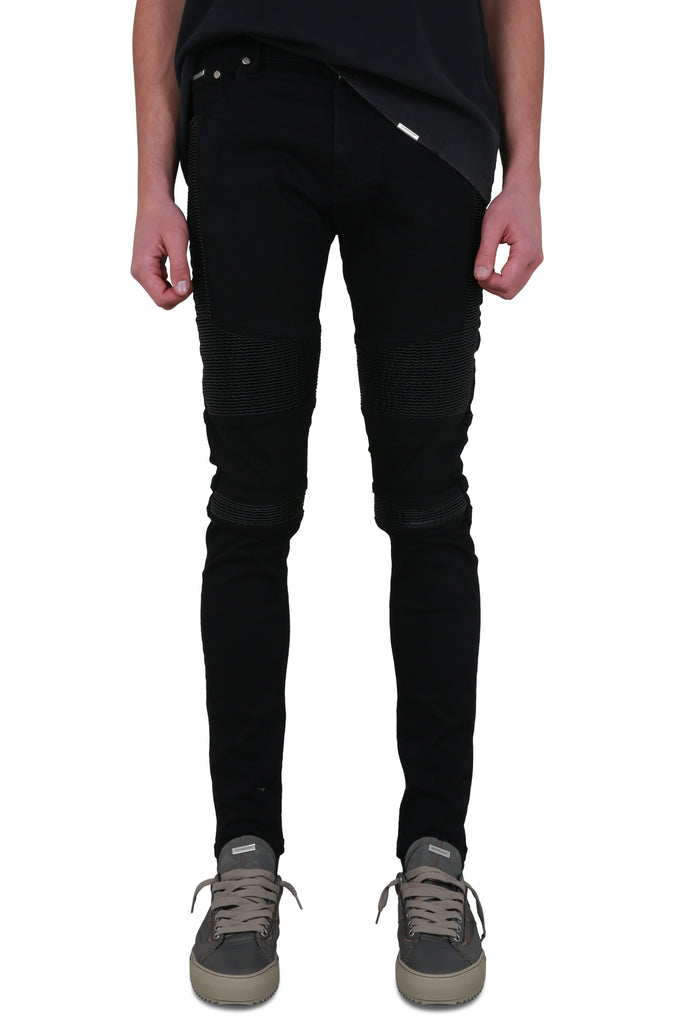 Biker Denim - Black/Leather