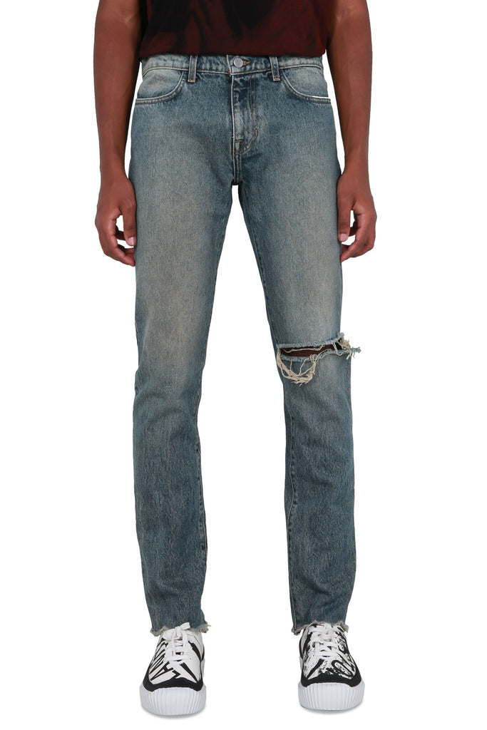 Distressed Straight Leg Denim - Light Blue