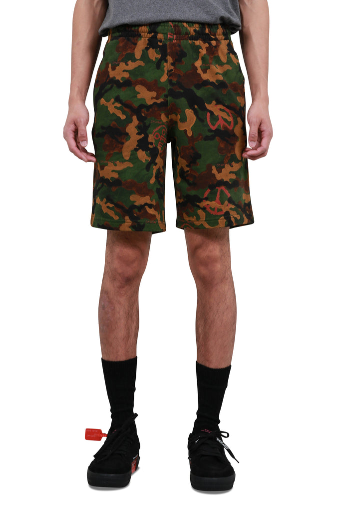 Acrylic Camouflage Sweat Shorts - Black