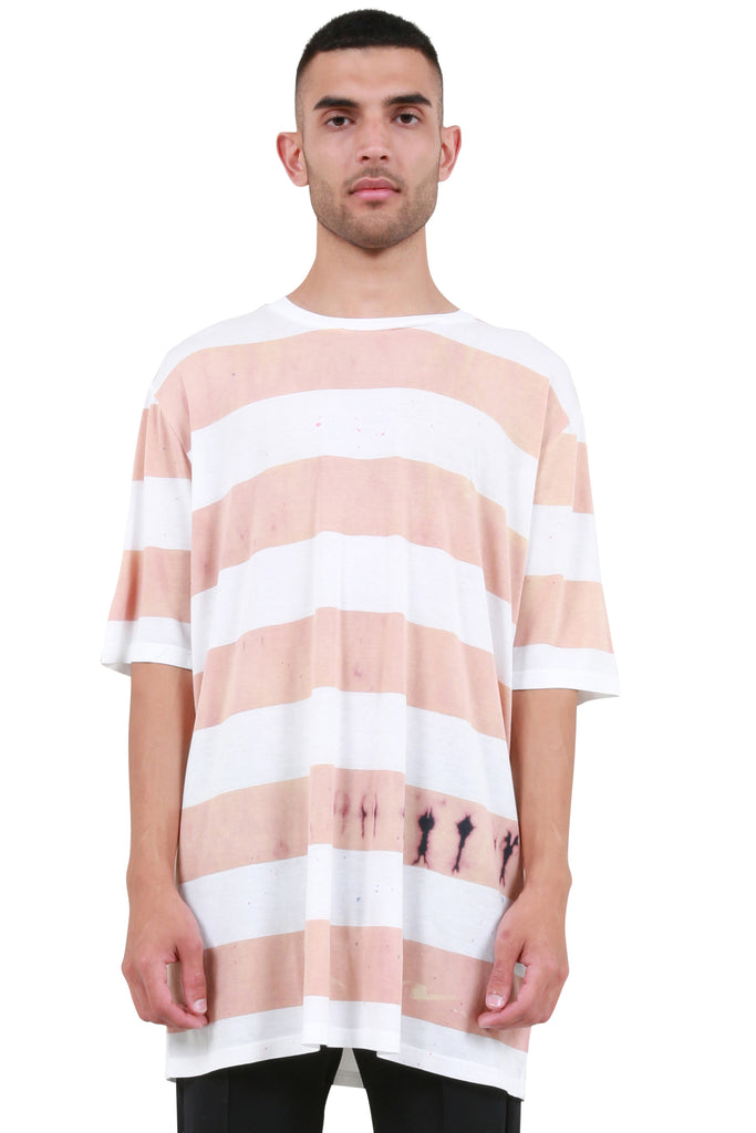 Stripe Oversized T-Shirt - Peach/White