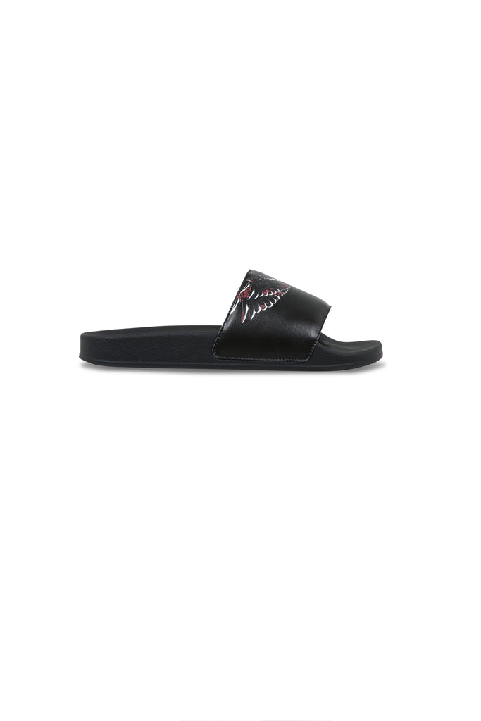 Flower Wings Slides - Black/Multicolor