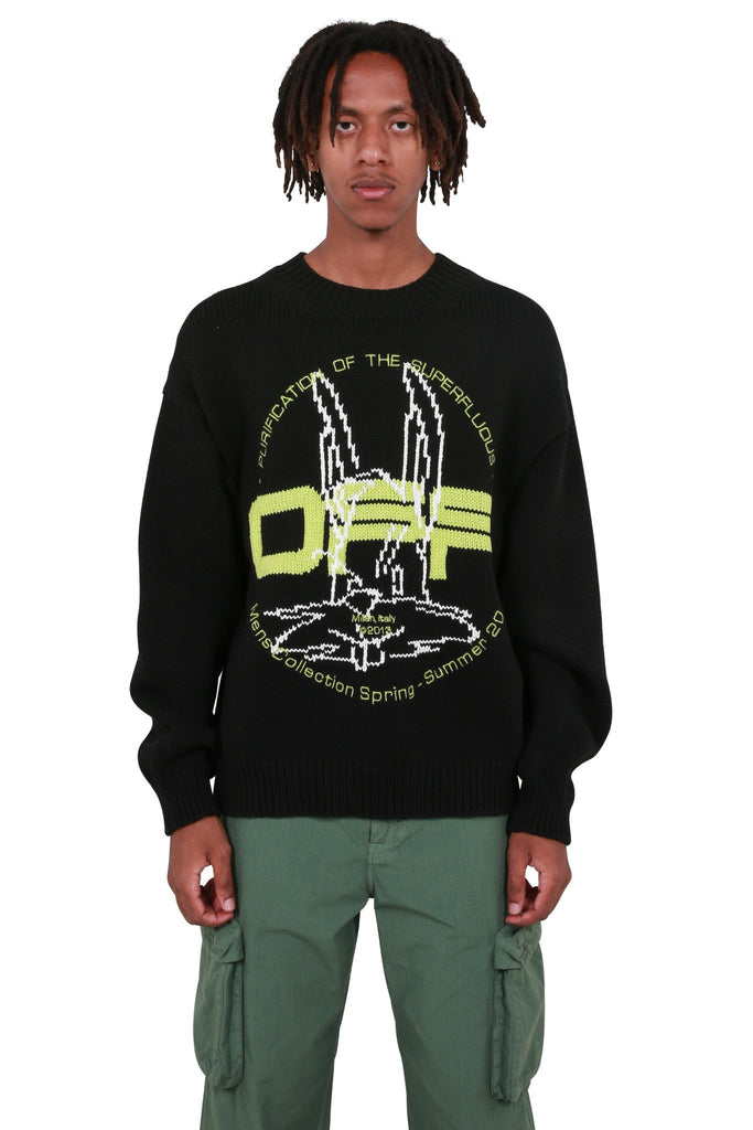 Harry the Bunny Knit Crewneck - Black/Brilliant Green