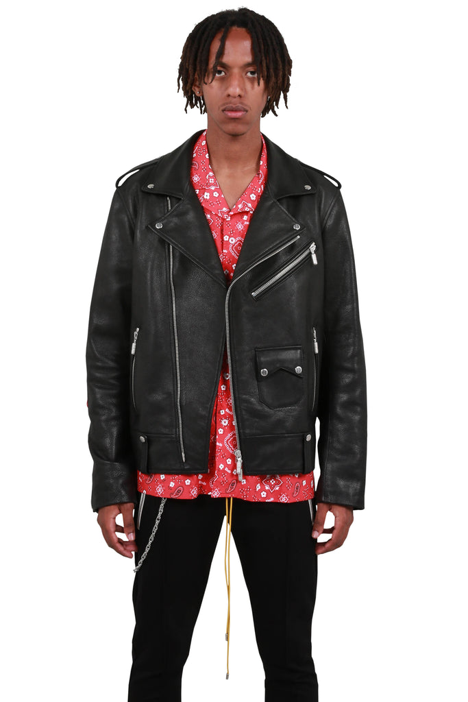 Heavy Leather Moto Jacket - Black
