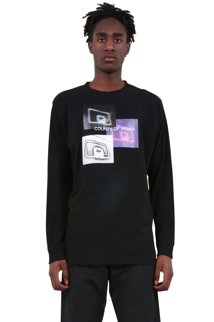 Three Baskets Long Sleeve T-Shirt - Black/Multicolor
