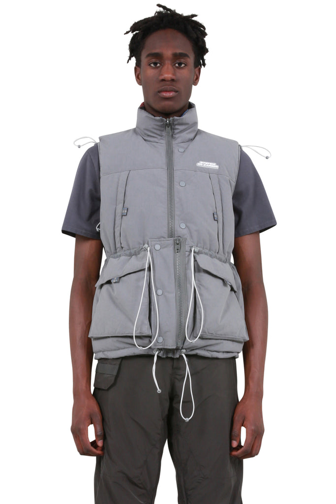 Reversible User Interface Cord Down Vest - Grey