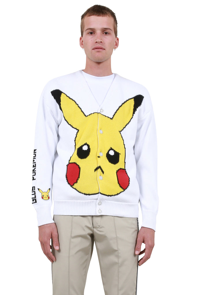 Pikachu Knitted Cardigan - White