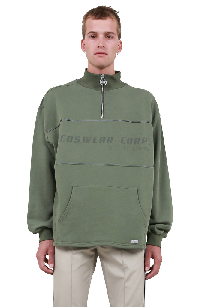 GCDS: Collar Half-Zip Sweatshirt - Deep Green | LESSONS