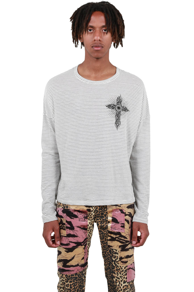 Ghost Crossed Striped Long Sleeve T-Shirt - White