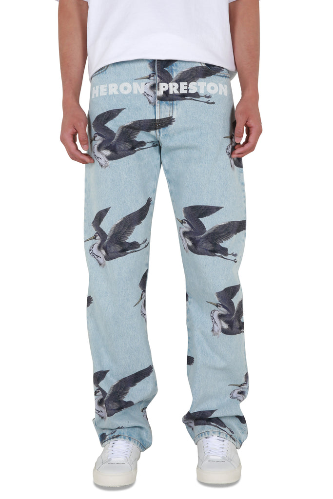 Herons Printed 5 Pocket Denim - Vintage Blue