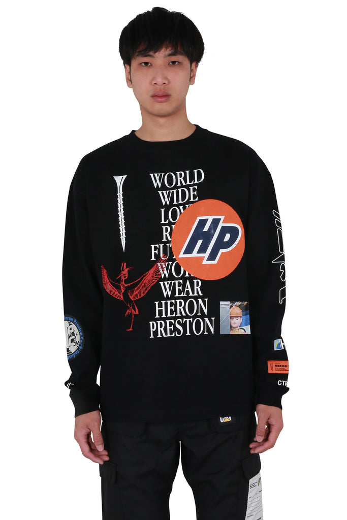 Collage Long Sleeve T-shirt - Black/White