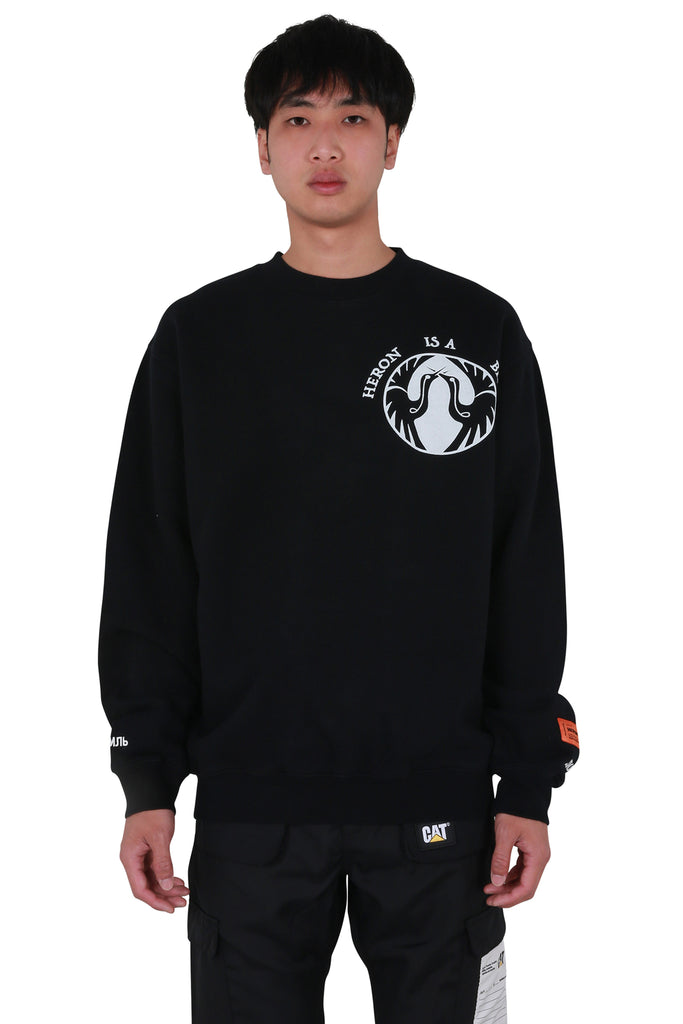 Heron Bird Oversized Crewneck - Black/White