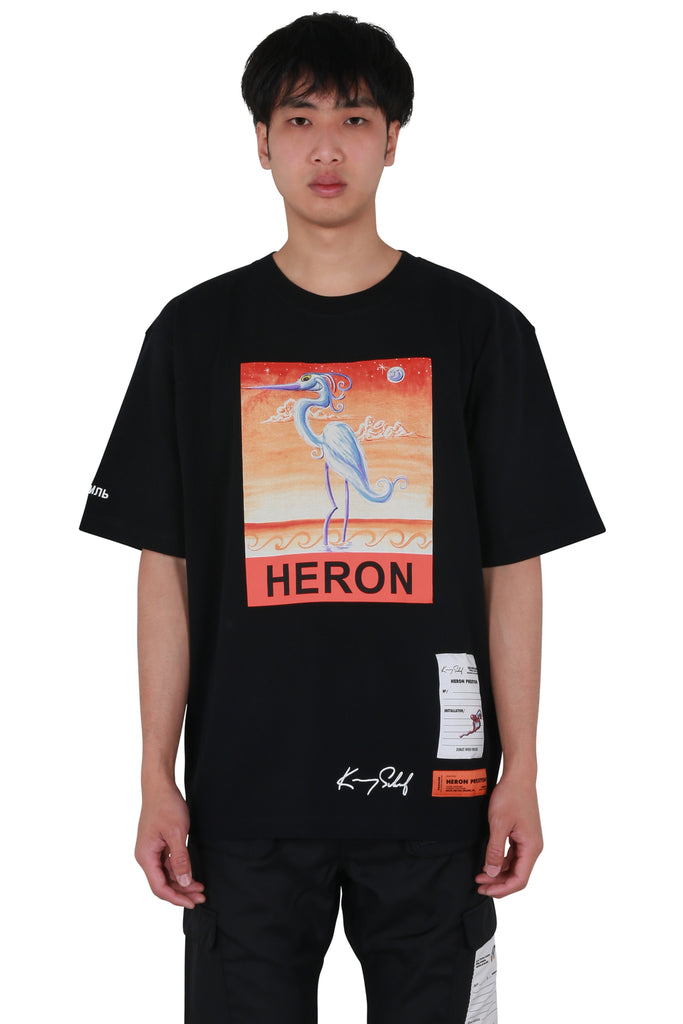 Kenny Scharf Heron Regular T-shirt - Black/Orange