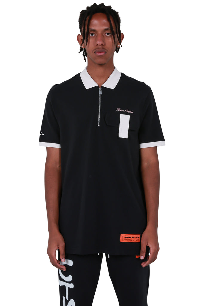Short Sleeve Pocket Polo - Black/Orange