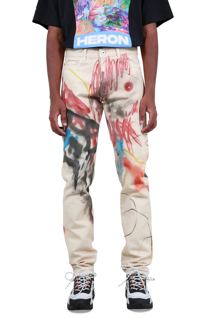 Robert Nava 5 Pocket Printed Denim Pants - Sand