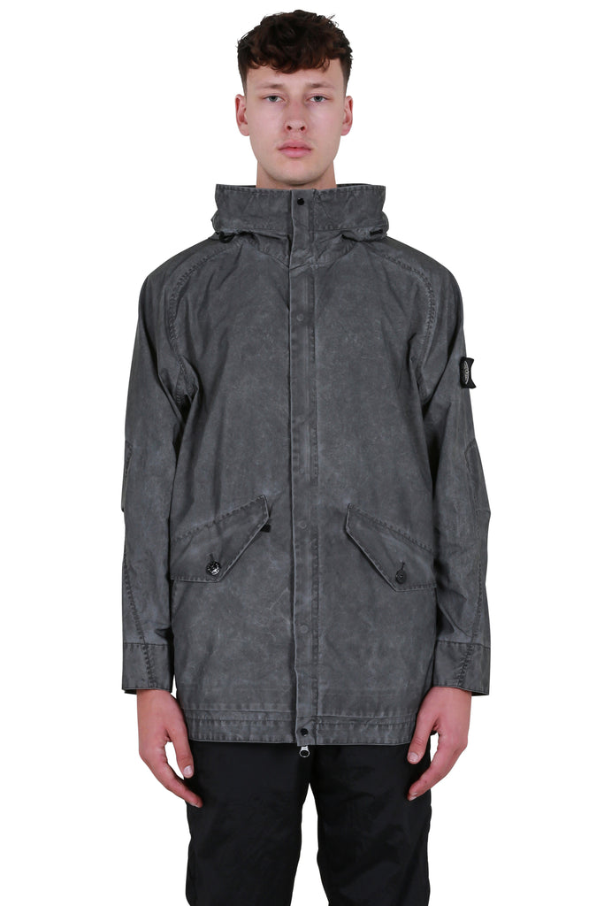 Reflective Distressed Parka Jacket - Grey