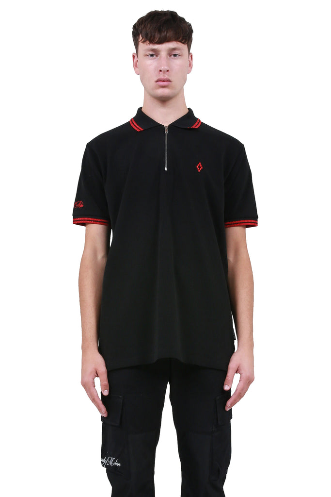 MARCELO BURLON: Cross Polo - Black/Red | LESSONS