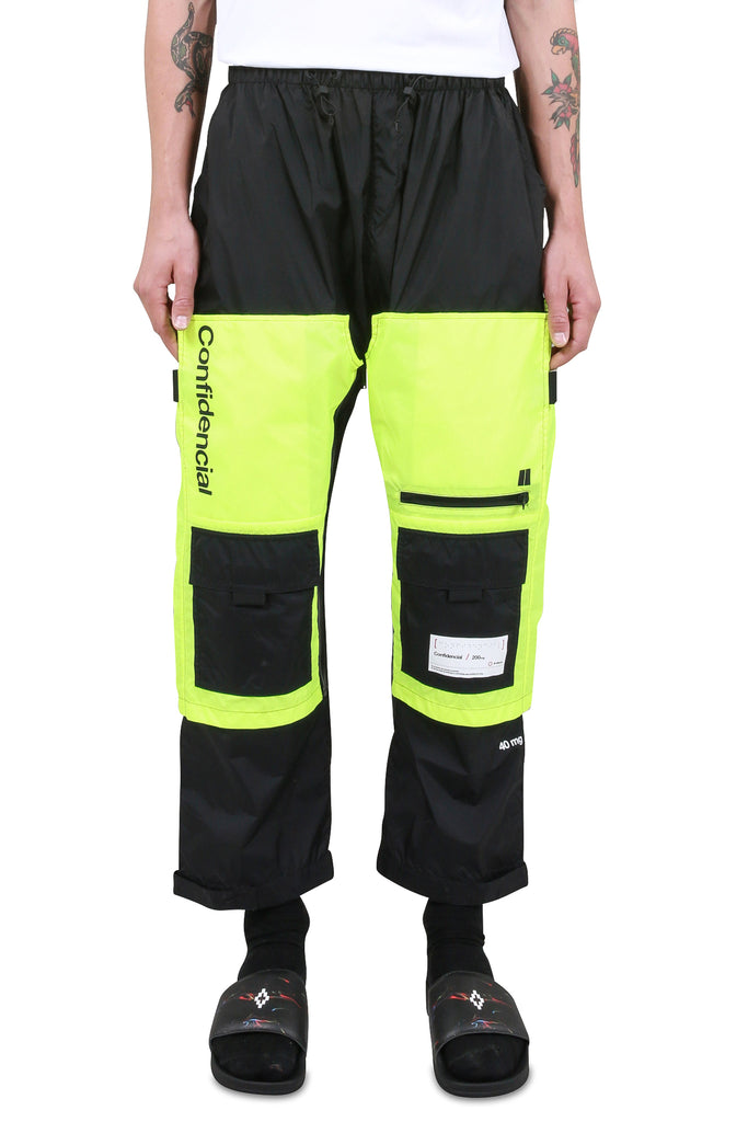 MARCELO BURLON: Braille Square Pants - Black/Fluoro Yellow | LESSONS