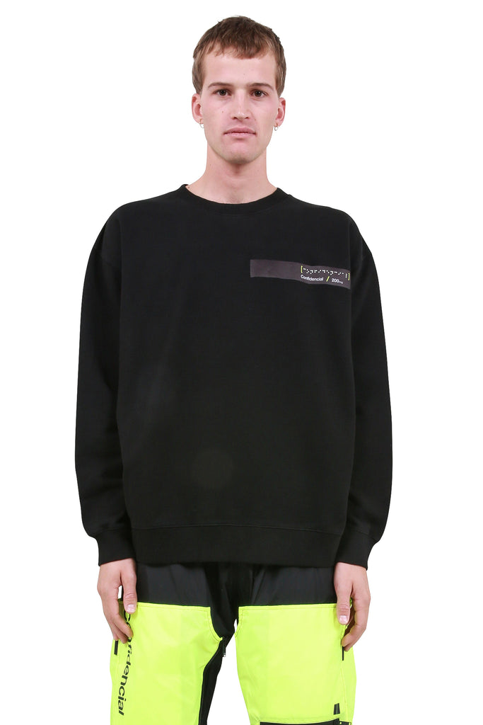 MARCELO BURLON: Braille Tape Pocket Crewneck - Black | LESSONS