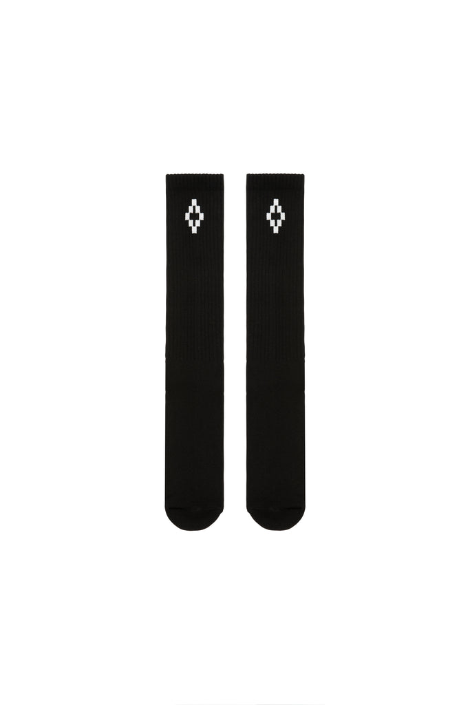 MARCELO BURLON: Cross Long Socks - Black/White | LESSONS