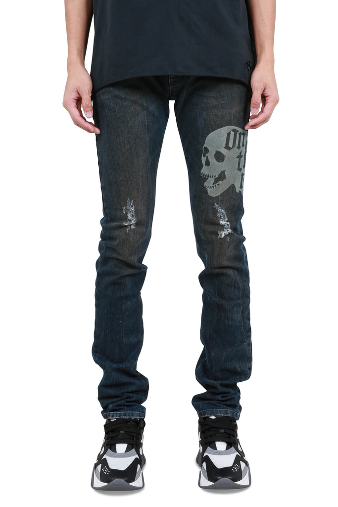 Holt Etched Dip Dyed Denim Jeans - Indigo/Red