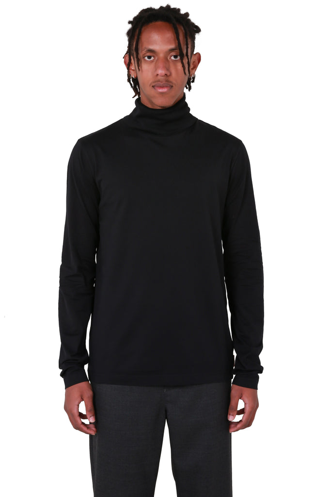 Roll-neck Jersey Top - Black