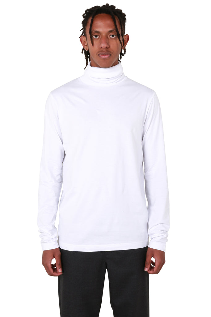 Roll-neck Jersey Top - White