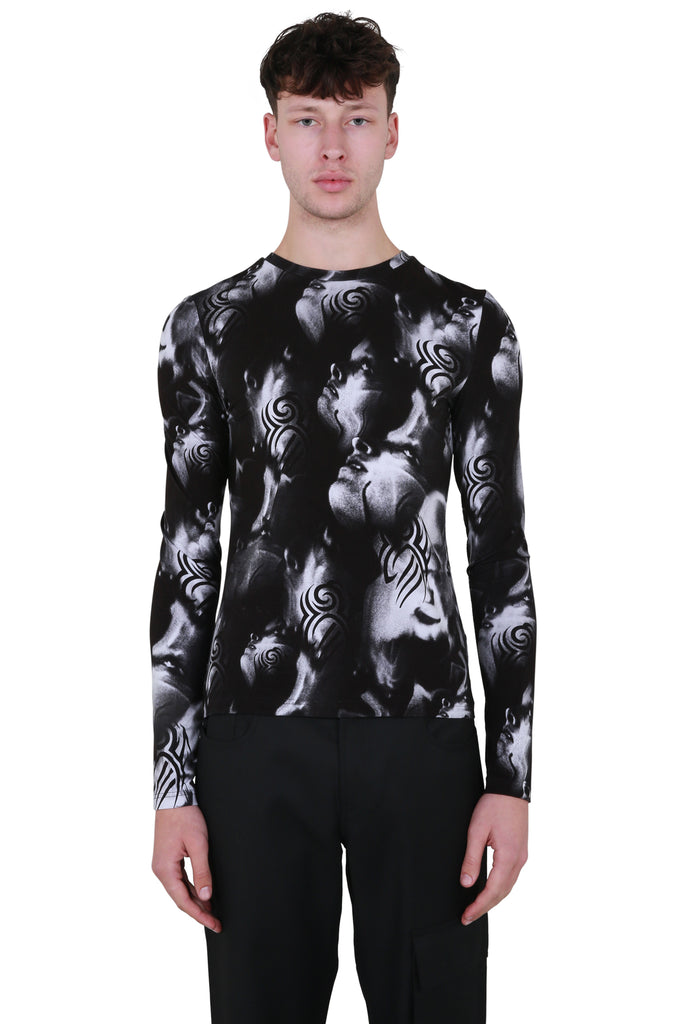 Manga Slim Long Sleeve T-shirt - Black/White