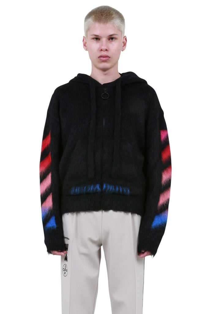 OFF-WHITE: Diagonal Brushed Mohair Zip Hoodie - Black | LESSONS