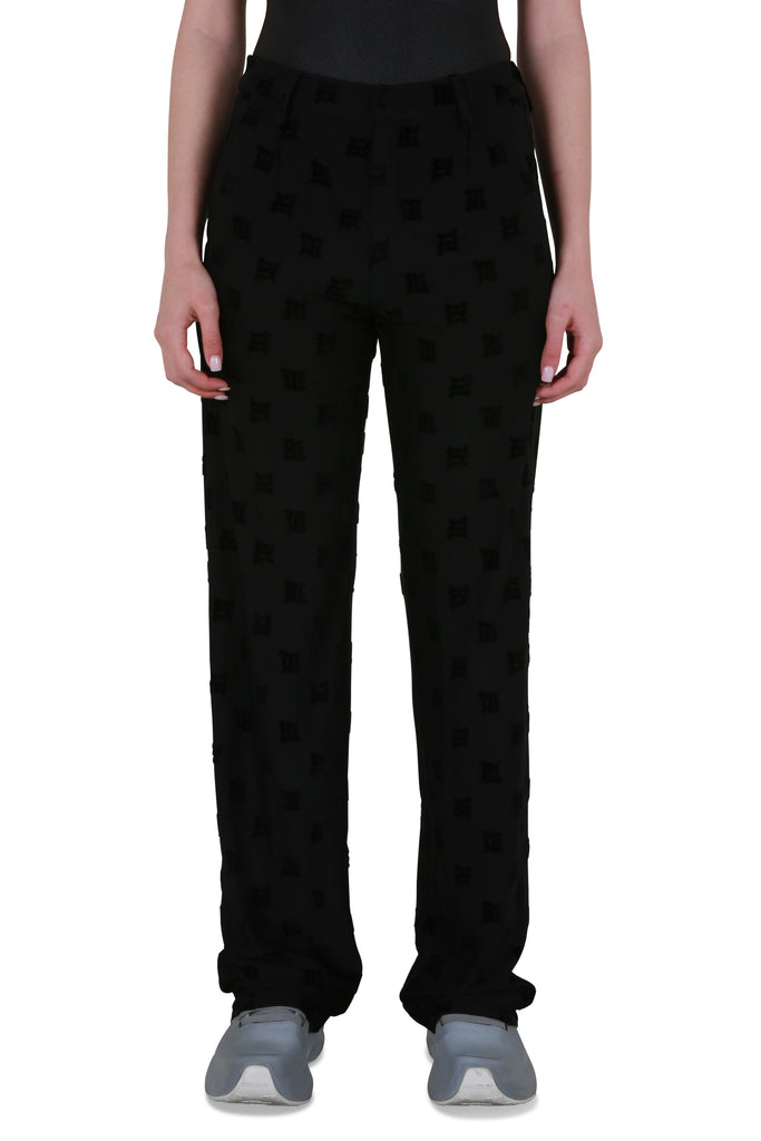 Velour Monogram Trousers - Black