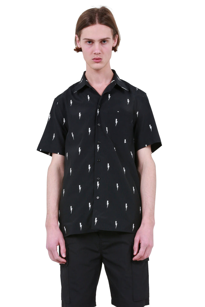 NEIL BARRETT: All Over Thunder Beach Shirt - Black | LESSONS