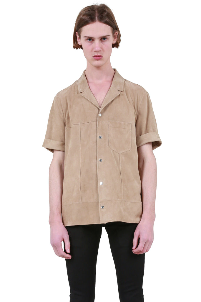 Short Sleeve Leather Shirt - Camel