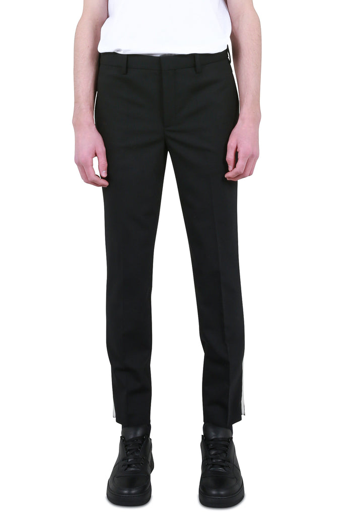 Slim-Fit Side Stripe Trousers - Black