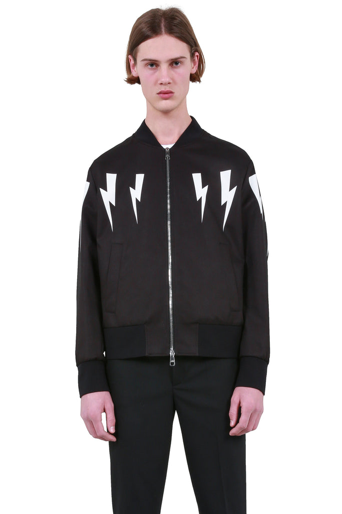 Winged Bolts Bomber Jacket - Black