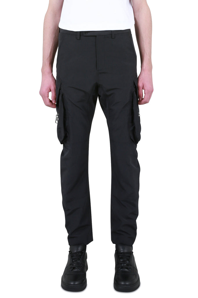 Panelled Patch Pocket Trousers - Black