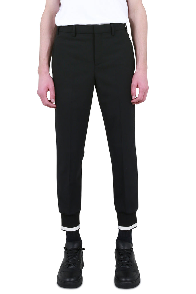NEIL BARRETT: Cuffed Tailored Trouser - Black | LESSONS