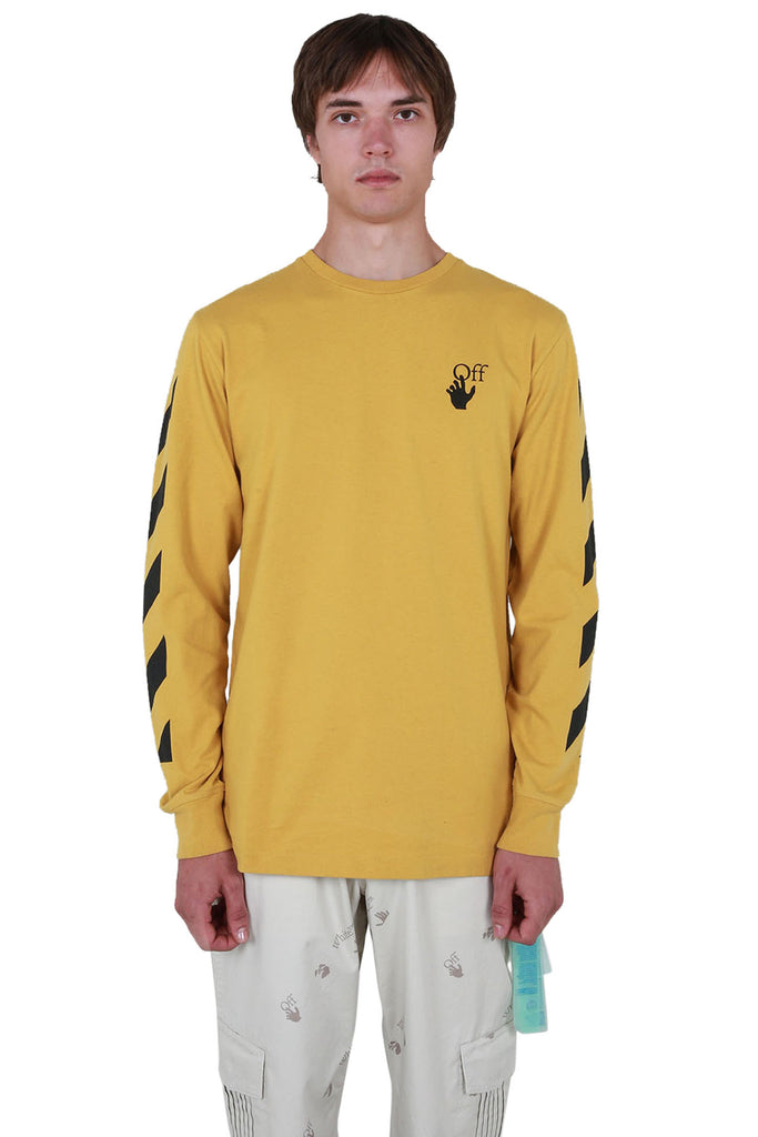 Diagonal Agreement Long Sleeve T-shirt - Ocher Yellow/Black