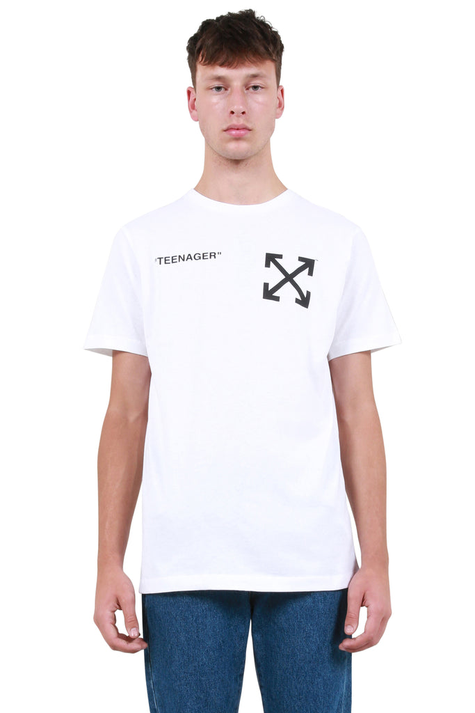 OFF-WHITE: Flamed Bart Slim T-Shirt - White | LESSONS