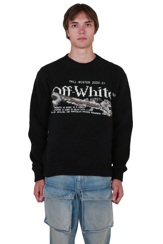Pascal Tool Knit Crewneck - Black/White