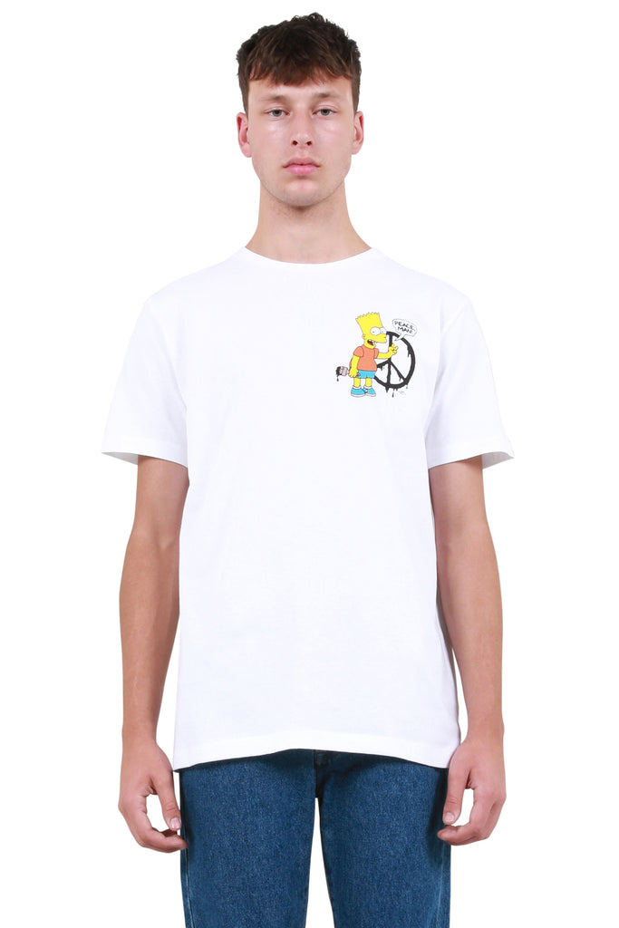 OFF-WHITE: Bart Peace Sign Slim T-Shirt - White | LESSONS