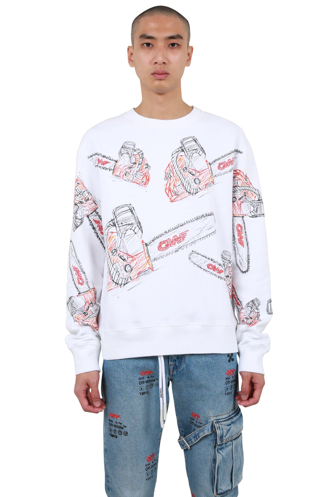 Chainsaw Slim Crewneck - White
