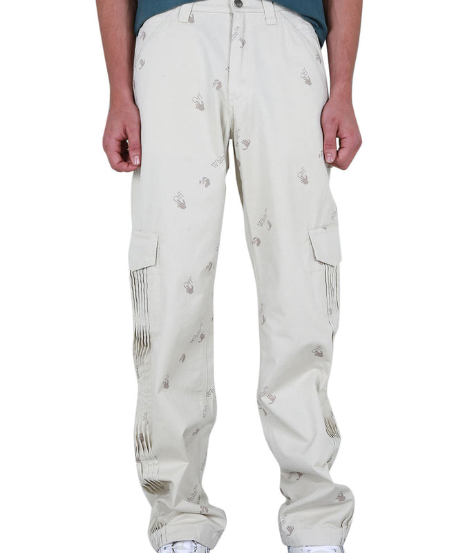 Allover Carpenter Pants - Off-White/Black