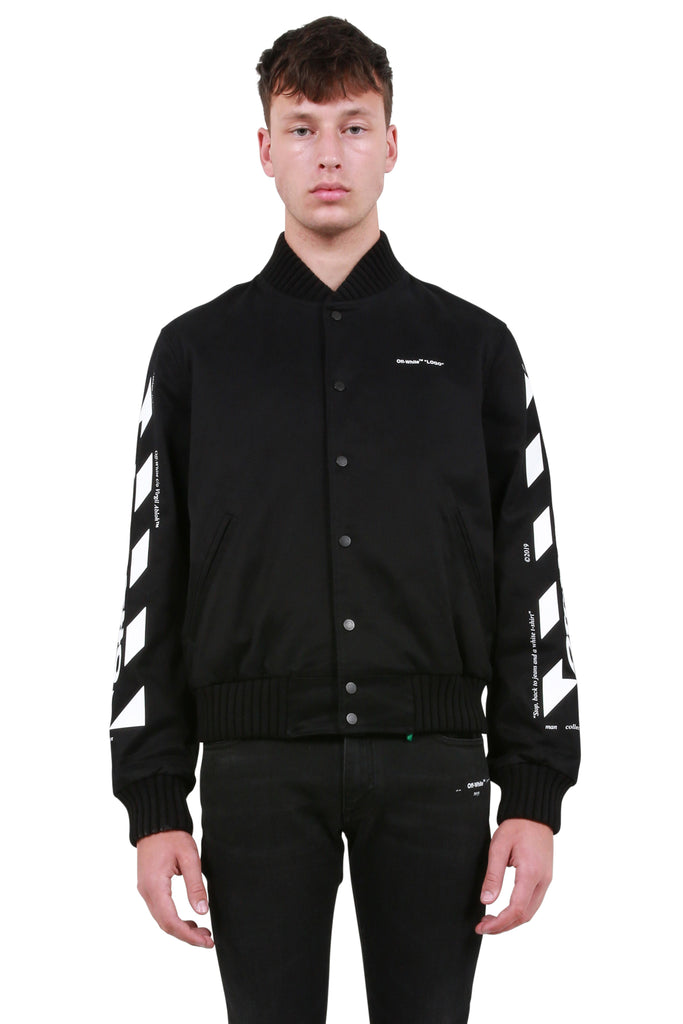 OFF-WHITE: Diagonal Arrows Varsity Jacket - Black/White | LESSONS