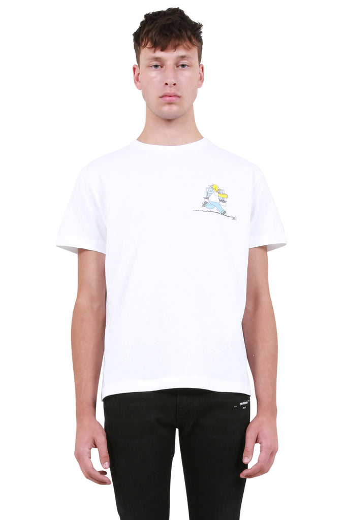 OFF-WHITE: Homer and Bart Skinny T-Shirt - White | LESSONS