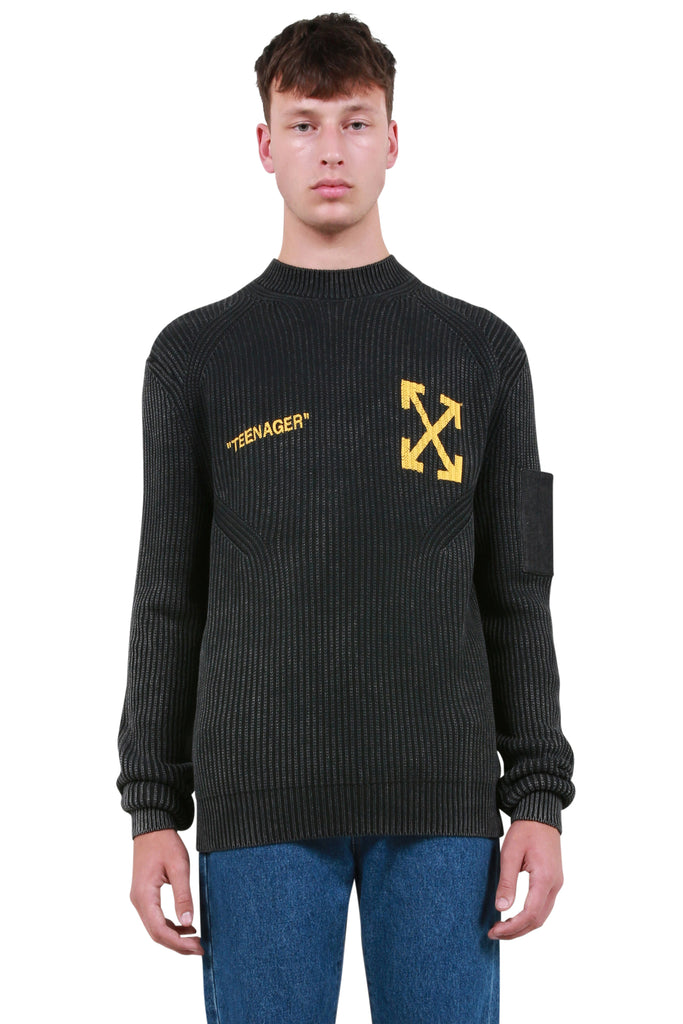 OFF-WHITE: Flamed Bart Cashmere Sweater - Washed Black | LESSONS