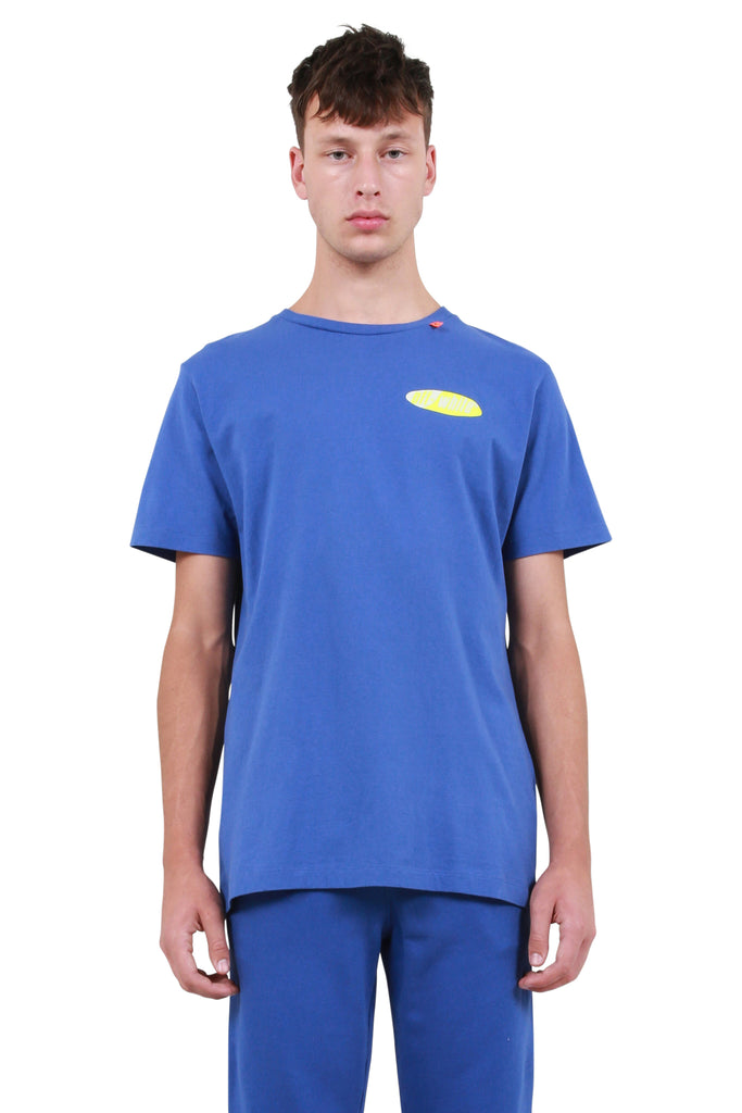 Split Logo Slim T-Shirt - Blue/Yellow