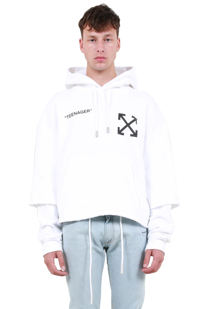 OFF-WHITE: Flamed Bart Double Sleeve Hoodie - White | LESSONS